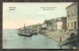 dc98 - SERBIA Belgrade 1910s Steamer at Quay. FREE SHIPPING