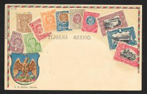 MEXICO Stamps on Postcard Embossed Shield Used c1900-1930