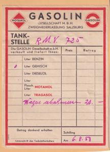 Salzburg 1950s Austrian Petrol Garage Receipt