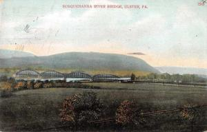 Ulster Pennsylvania birds eye view Susquehanna River bridge antique pc Y15080