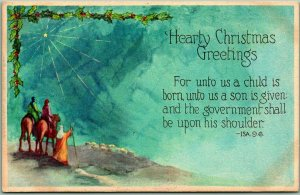 1924 Religious Holiday Postcard Hearty CHRISTMAS GREETINGS Wise Men /Xmas Star