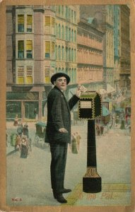 Vintage Postcard 1912 To Me Pal.  Young Man Mailing Letter