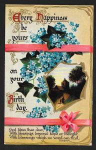 'Happiness be yours...Birthday...' Flowers Church Used c1910