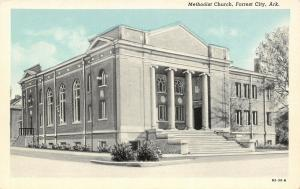 Forrest City Arkansas~Methodist Church~1930 CT Blue Sky Postcard