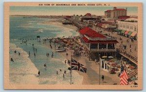Postcard NJ Ocean City Airview of Boardwalk & Beach View Vintage Linen H24