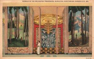 Vintage Postcard 1939 Murals in the Orchestra Promenade Municipal Auditorium MO