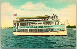 1940s Miami, Florida Postcard SEVEN SEAS DREAMBOAT Excursion Tour Boat Linen