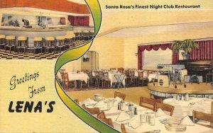 LENA'S Night Club Restaurant SANTA ROSA, CA c1940s Linen Vintage Postcard