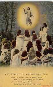 Survey The Wondrous Cross 1909 Bamforth Religious Postcard Jesus Above Followers