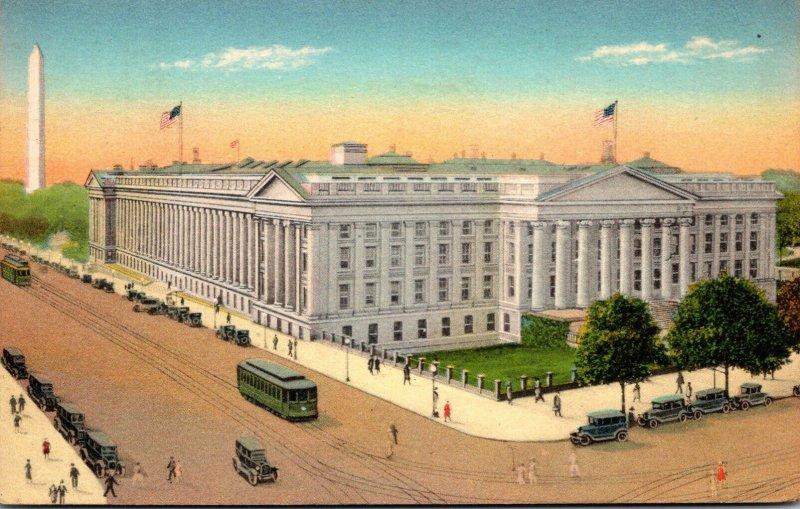 Washington D C Trolleys At The United States Treasury 1932