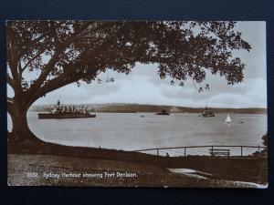 Australia NSW SYDNEY HARBOUR Showing Fort Denison & Navy Ships c1930 RP Postcard