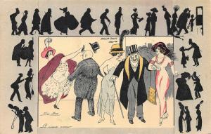 MOULIN ROUGE CHARACTERS-XAVIER SAGER ARTIST SIGNED LITHO POSTCARD