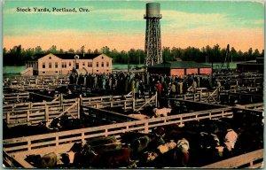 Portland, Oregon Postcard STOCK YARDS View / Cattle Pens Scene c1910s UNUSED