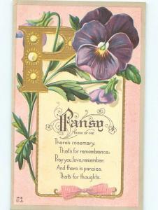 c1910 Language Of Flowers THE LETTER P - WITH PANSY FLOWERS SHOWN AC4928