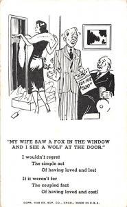Fox in the Window Comic Postcard Unused