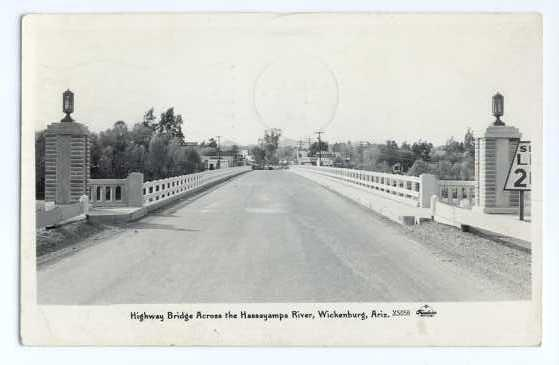 RPPC of Highway Bridge across the Hassayampa River, Wickenburg, Arizona, AZ