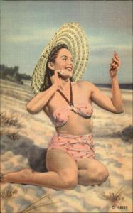 Bathing Beauty Bikini on Beach Makeup Mirror Linen Postcard