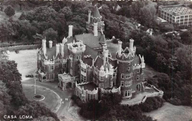 TORONTO ONTARIO CAN~CASA LOMA~NORTH AERIAL VIEW~$3 MILLION~ PHOTO POSTCARD 1950s