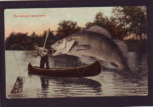 P1575 vintage exaggerated fish mailed to maine the fishing is great here