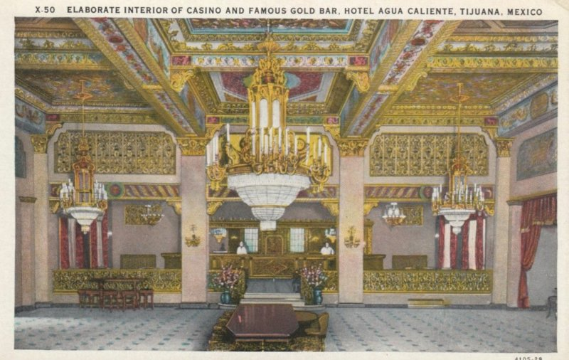 TIJUANA, Mexico, 1910-20s; Casino & Gold Bar, Hotel Agua Caliente