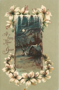 New Year~Cabin Under Bare Black Tree~Full Moon~Tiger Lilies Stick Border~Germany