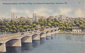 Virginia Richmond Skyline And Mayo Bridge Over Historical James River