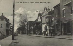 Farnham Quebec Depot St. c1910 Postcard