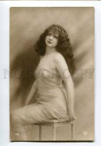 251053 NUDE Belle Woman CURLY LONG HAIR Vintage PHOTO BV #178
