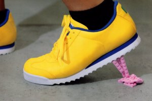 Yellow Shoe Sports Trainers Childrens Toy Lego Postcard