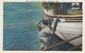TARPON SPRINGS , Florida, 1900-1910's; Hard Hat Diver going Down