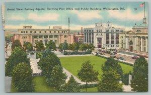 Wilmington Delaware~Rodney Square~Post Office~Public Building~1940s Linen Postca