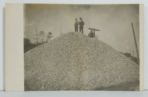 Rppc Huge Pile Of Stones Men Posing at Top c1910 Real Photo Postcard O16