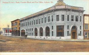 Bank and Post Office in Auburn Maine Antique Postcard L589