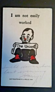 1907 Platte SD Man Not Easily Worked Reading The Union Comic Postcard Cover
