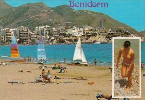Risque Semi Nude Topless Lady On Beach Benidorm Spain