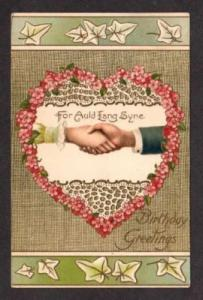 Birthday Postcard Auld Lang Syne Heart Couple's Hands