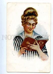 223297 RUSSIA Kushchenko glamor girl w/ book #849 old postcard