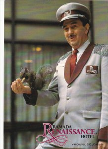Doorman Feeding Squirrel Ramada Renaisance Hotel Vancouver British Columbia C...