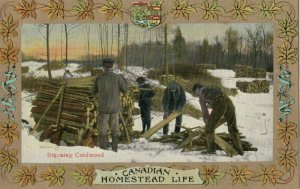 Homestead Life , Canada , 1900-10s ; Stacking Cordwood