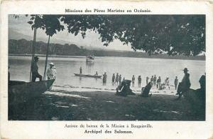 South Pacific Oceania Solomon Islands Bougainville Missionary boat arrival scene