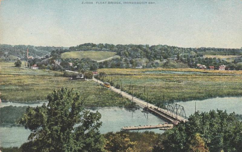 Electric Rail Floating Bridge Irondequoit Bay near Penfield Rochester NY pm 1913