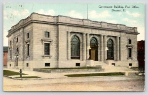 Decatur Illinois~Government Building-Post Office~1911 Postcard