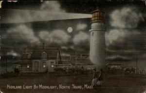 North Truro Cape Cod MA Lighthouse at Night c1910 Postcard