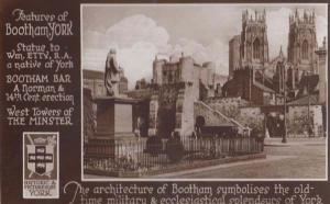 Yorkshire Bootham Bar Minster Norman History Statue Military Real Photo Postcard