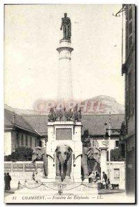 Old Postcard Chambery Elephant Fountain Etephants