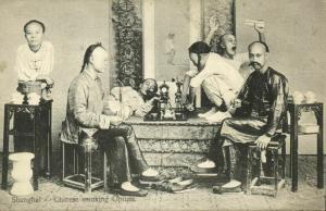china, SHANGHAI, Native Chinese Men Smoking Opium (1910s) Postcard