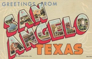 Large Letter SAN ANGELO , Texas , 1930-40s