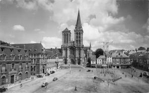 France, Lisieux, La Cathedrale Saint-Pierre et Place Thiers, cars, Real-Photo