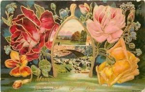 Greetings Card, Many Happy Returns, Roses, Wish Bone, Embossed