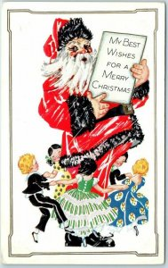 1910s Christmas Postcard Children Dancing Around SANTA CLAUS Red Suit Black Fur